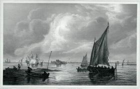 """1869年维也纳画廊钢板画系列 —《做业船》荷兰画家 """"让·凡·霍延 Jan van Goyen (1596-1656年) """"作品26.5x21.5cm"""