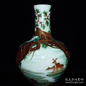清雍正年珐琅彩鹿纹天球瓶
