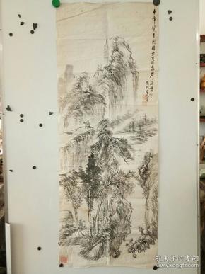 约民国时期 大尺副山水画 未裱 作者不识 尺寸132x52