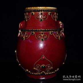 清雍正年霁红镶嵌宝石象耳尊