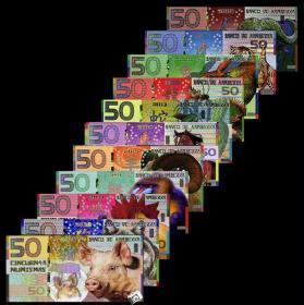 全新UNC 堪培拉银行50元 11张套币生肖 塑料钞