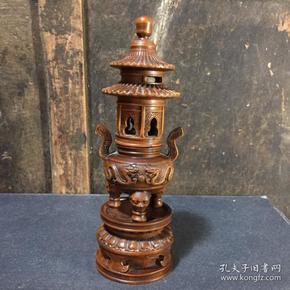 黄杨木雕龙塔式香熏炉