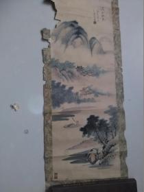 【溪山秋色.一九七六年一月金海写于津 手绘:王金海】