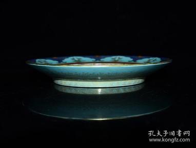 清乾隆年松石釉雕刻麒麟纹鎏金盘