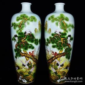 清雍正年珐琅彩松鹤延年纹梅瓶