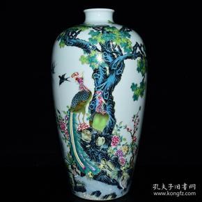 清雍正年粉彩花鸟纹梅瓶