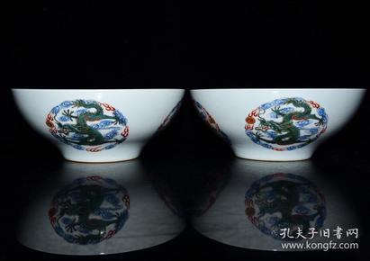 清雍正年粉彩五龙纹碗