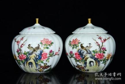 清雍正年粉彩花鸟纹瓜瓶盖罐