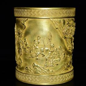 清乾隆年雕刻十八罗汉纹鎏金笔筒