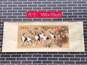 手工刺绣 松龄鹤寿针织绢画 尺寸如图运费自理hbq