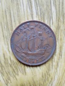 英国老币: 海盗船半便士(1942年)乔治六世头像——老外币收藏