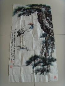 彭世杰:画:云鹤千年寿,苍松万古青(带信封)