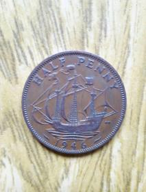 英国老币: 海盗船半便士(1946年)乔治六世头像——老外币收藏