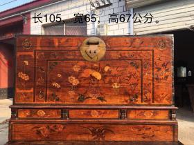 清代,老花箱,纯手绘,画工精细,老铜件齐全,保存完整,包老