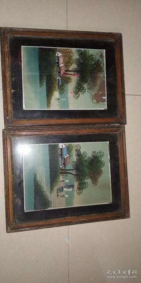民国时期手绘玻璃画一对。手绘玻璃画!包老保真包民国。原框原画。成对的手绘的不多见了。