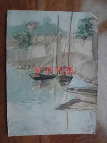 """著名画家""""李野林""""水粉速写《清晨的阳光》(27*19.5CM野林56.9.28)"""