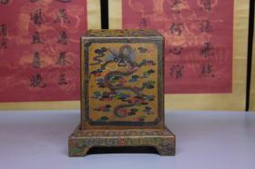 清代漆器龙纹印章盒摆件,尺寸18*18*22厘米,细节图如下