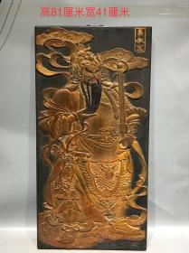 古旧楠木大器秦叔宝挂件一副,包浆浓厚磨损自然,尺寸品相见图