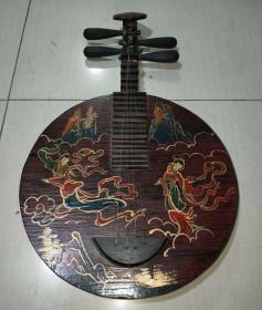 旧藏漆器阮一把,高64厘米,宽38厘米,品好,可正常弹奏