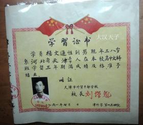 1961年河北财经学院附设天津外贸干部业余学校毕业证