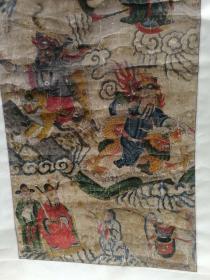 清代廟畫 四功曹 尺寸108 52 清代手繪