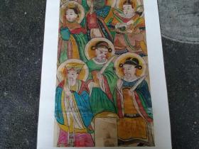 清代廟畫 水部 尺寸122x42 清代手繪