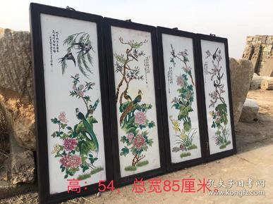 民国时期,瓷板画一套,画质清晰自然,色彩鲜明,保存完整!高54cm,总宽85cm