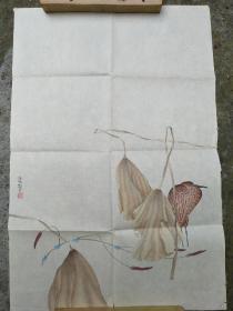 李强工笔花鸟画――秋荷白鹭