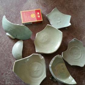 元代龙泉窑瓷片标本7块合售