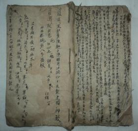 清代纸捻装、大开本中医手抄本、【医方】、一册21个筒子页42面。
