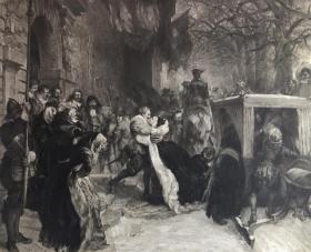 限量版(限量100张,其中40张之一)19世纪大型蚀刻铜版画《重聚》德国版画家Gustav Eilers制作 源自德国画家阿道夫·门采尔( Adolph Menzel,1815-1905)的作品 带版画家铅笔签名、画家签名、画家肖像素描和印戳 74厘米*65厘米