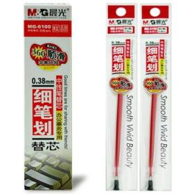 Morning Light (M & G) MG-6100 Extremely Fine Gel Pen Refill Core Gourd Neutral Refill 0.38mm Red Boxed 20