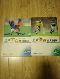 足球进攻技术图解+足球防守技术图解2册合售