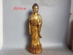 乡下收的大明宣德年老铜鎏金佛像