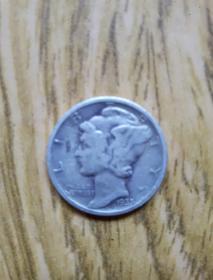 美国老银币: 二战前10分小飞人小银币(1935年)——智神墨丘利 好年份美品——老外币收藏