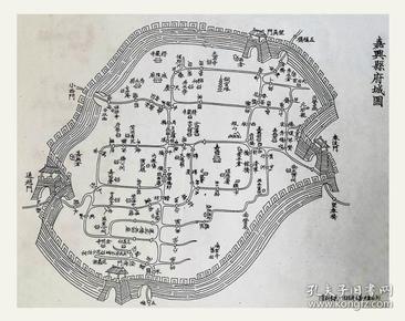 清《嘉兴县府城图》刊一八八八年《嘉兴县志》~复印件~20X14~包邮