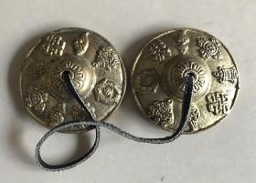民族乐器碰钟碰铃藏式吉祥八宝铜钹民族风手工纯铜八宝碰铃