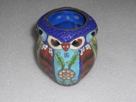 猫头鹰景泰蓝小罐(尺寸约:高9.5*肚7.5*口4.3cm
