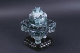双龙首玉香炉一件(七八十年代 出口创外汇 工艺品精品;带盖,三足,对称龙首,盖钮为盘龙形;盖无孔,用时撤盖,不用时为精美陈设品)HXTX101312