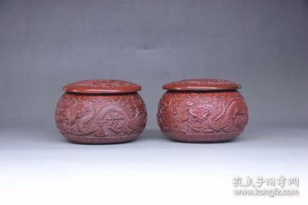 旧藏 漆器龙纹盒围棋罐摆件,尺寸14*14*9.0厘米,细节图如下