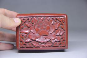 旧藏 漆器花卉盒摆件,尺寸10.5*7.5*4.5厘米,细节图如下