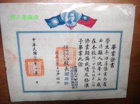 民国26年云南省立曲靖师范学校附属小学毕业证