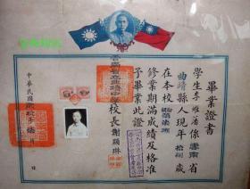 民国29年云南省立曲靖中学毕业证税票照片钢印完整