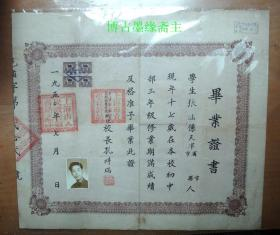1950年上海市立邑庙补习学校毕业证