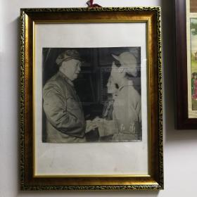 吕相友拍摄毛主席接见红卫兵大幅照片,进口厚布纹相纸,泛银