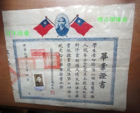 民国37年江西省立南昌高级商业职业学校毕业证
