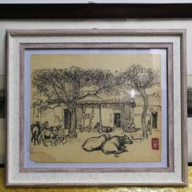 著名画家乌叔养五十年代素描画共产主义天堂