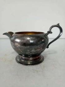 老式铜鎏银壶·酒壶·高足奶罐·老式精美摆件【包老】重量237克·稀少老物件·喜欢的不要错过.