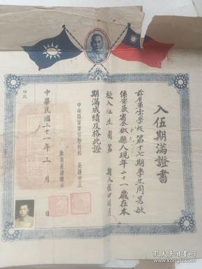 民国毕业证(周思敏同志的证书及信)
