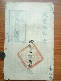 少见咸丰伍年奉宪颁给户测清册(不全)。